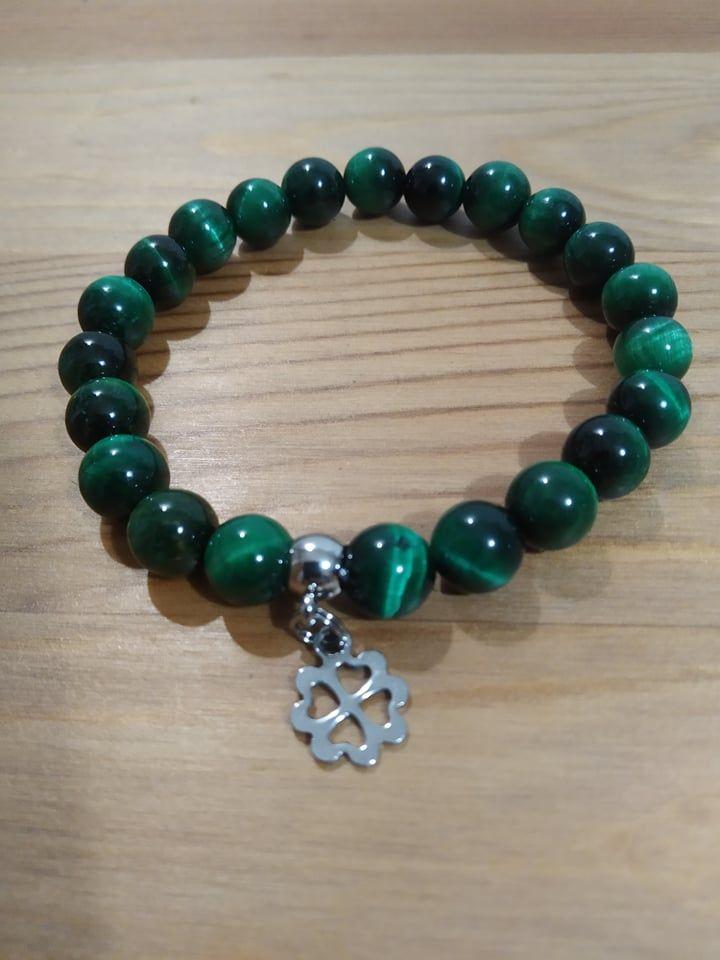 Náramek z minerálů - Zelené tygří oko