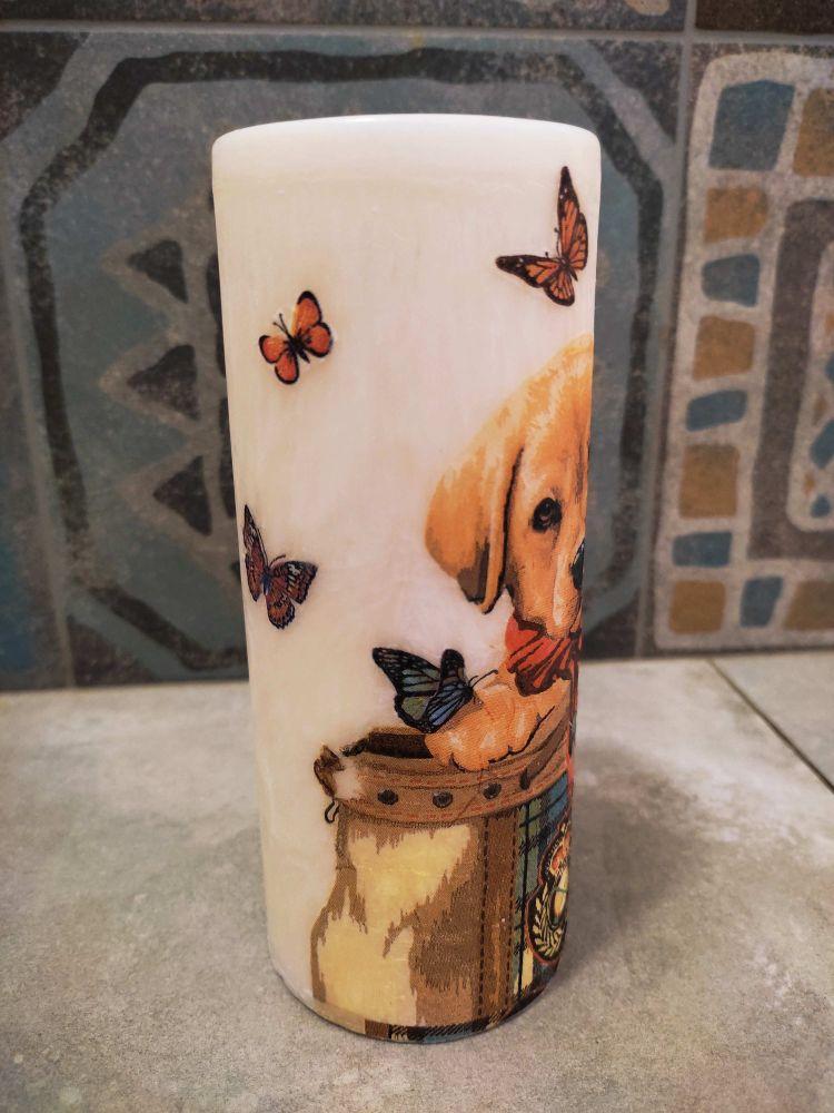 Svíčka - labrador s motýly